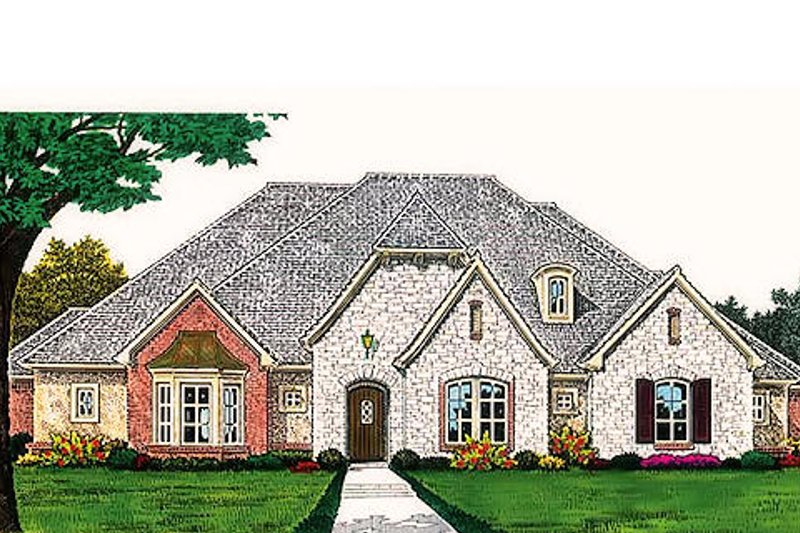 European Style House Plan - 3 Beds 3 Baths 2556 Sq/Ft Plan #310-696 Exterior - Front Elevation