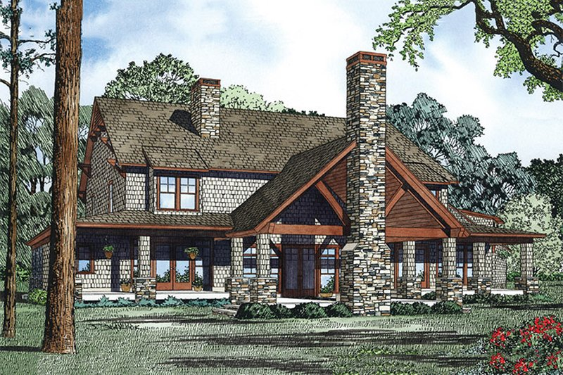 Country Exterior - Rear Elevation Plan #17-2398 - Houseplans.com
