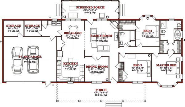 Country Floor Plan - Main Floor Plan Plan #63-289