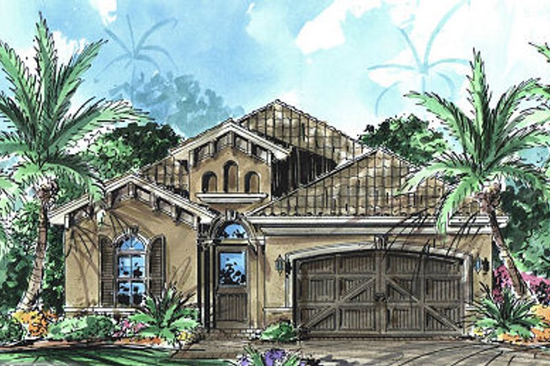 Mediterranean Style House Plan - 3 Beds 2 Baths 1758 Sq/Ft Plan #27-344 Exterior - Front Elevation