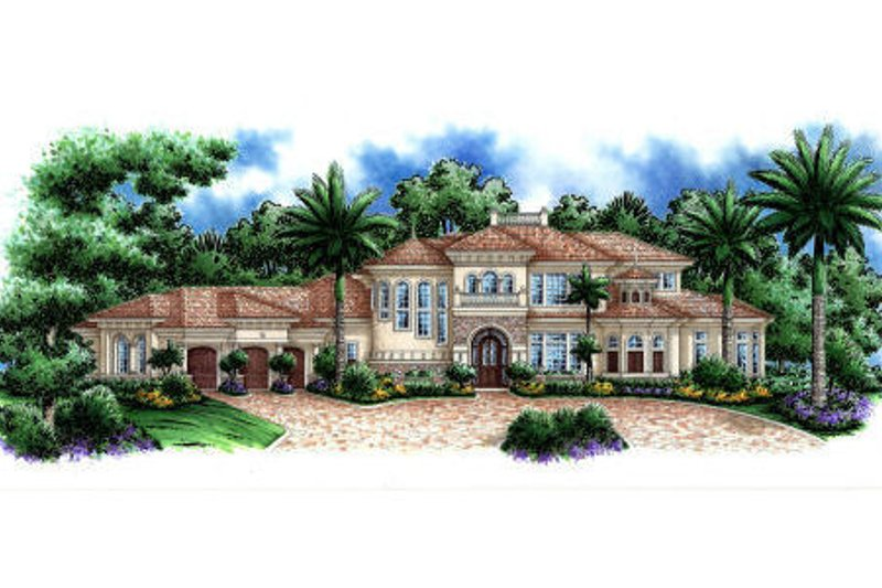 Mediterranean Style House Plan - 5 Beds 5.5 Baths 5604 Sq/Ft Plan #27-390 Exterior - Front Elevation
