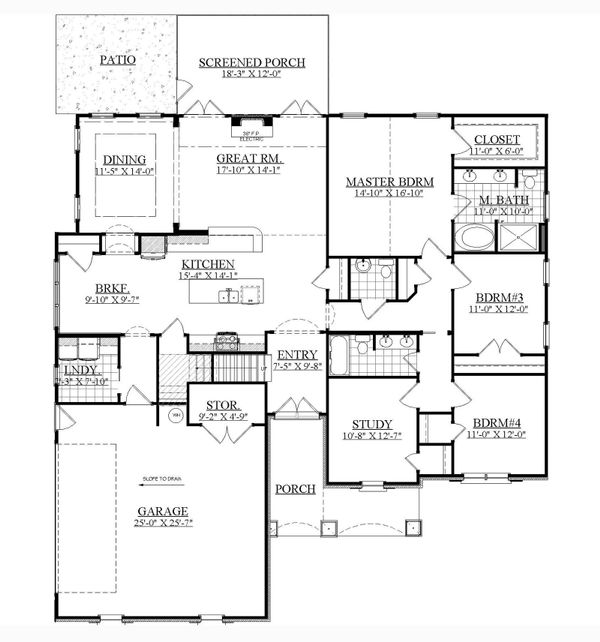 Traditional Floor Plan - Main Floor Plan Plan #1071-15