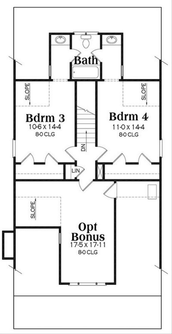 Craftsman Floor Plan - Upper Floor Plan Plan #419-254