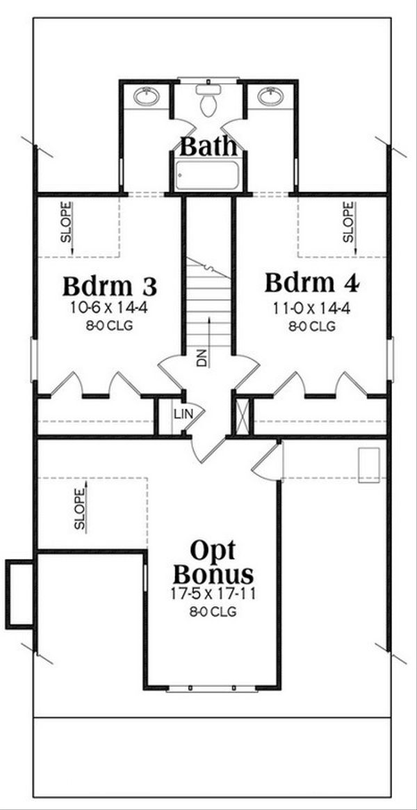 Craftsman Floor Plan - Upper Floor Plan Plan #419-254