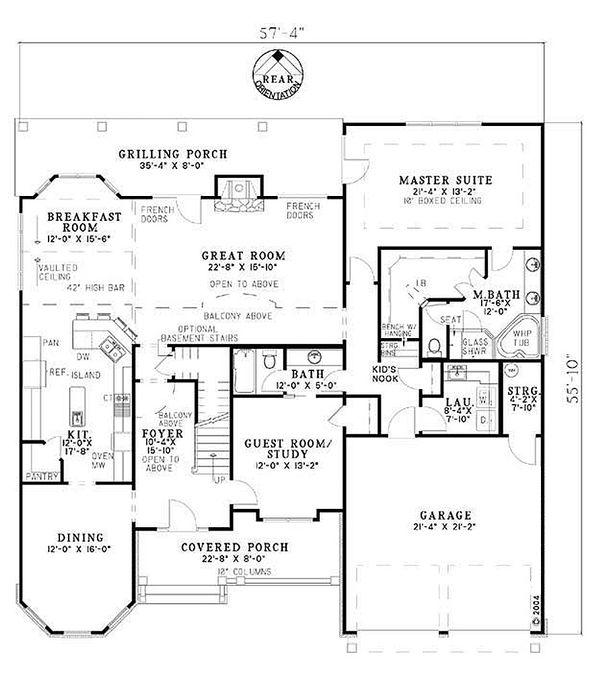 Country Floor Plan - Main Floor Plan #17-1169