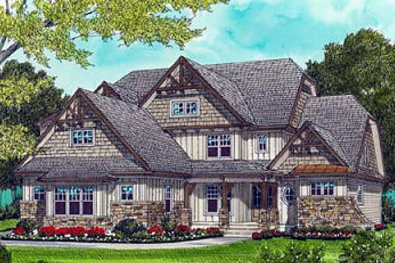 Craftsman Style House Plan - 4 Beds 3 Baths 3826 Sq/Ft Plan #413-115 Exterior - Front Elevation