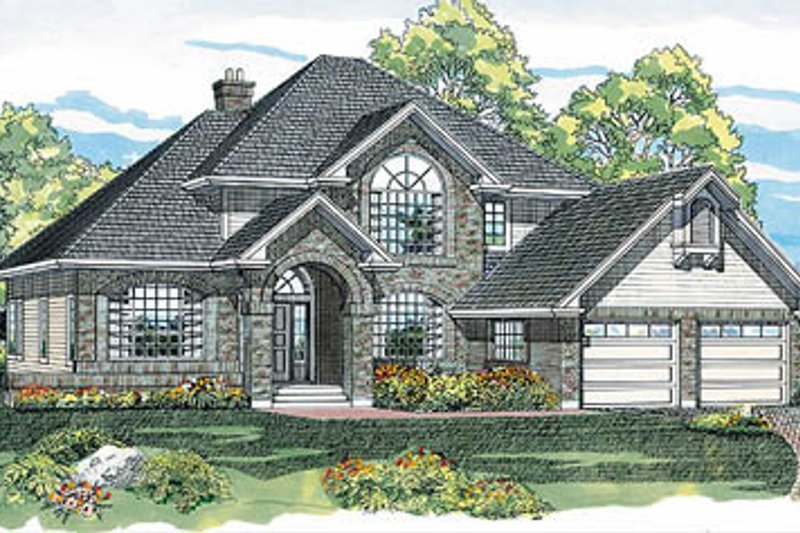 European Style House Plan - 4 Beds 2.5 Baths 2097 Sq/Ft Plan #47-272 Exterior - Front Elevation