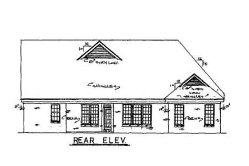 Country Exterior - Rear Elevation Plan #34-157 - Houseplans.com