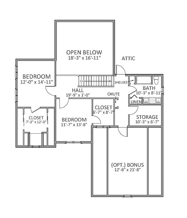 Traditional Floor Plan - Upper Floor Plan Plan #898-26