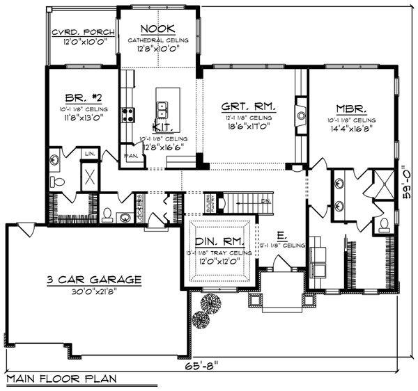 Ranch Floor Plan - Main Floor Plan Plan #70-1245