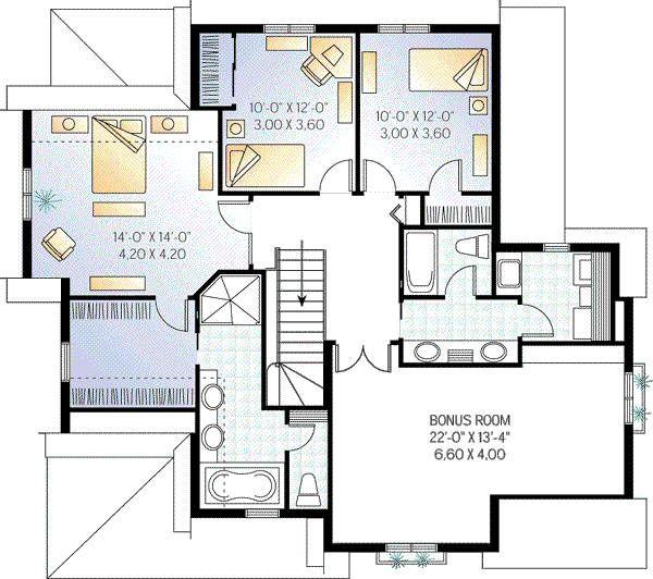 Country Floor Plan - Upper Floor Plan Plan #23-336