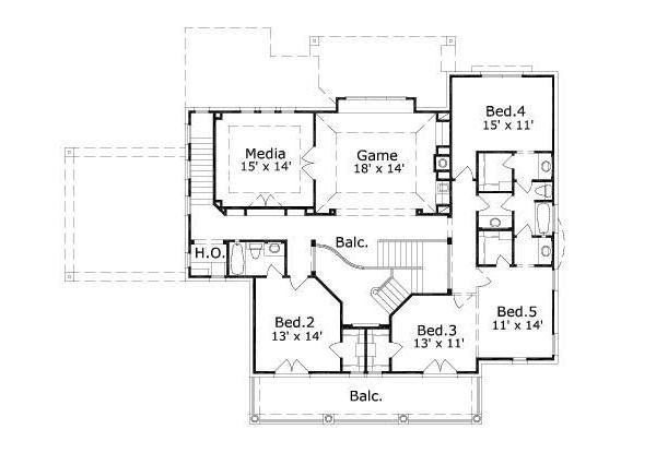 Colonial Floor Plan - Upper Floor Plan Plan #411-380