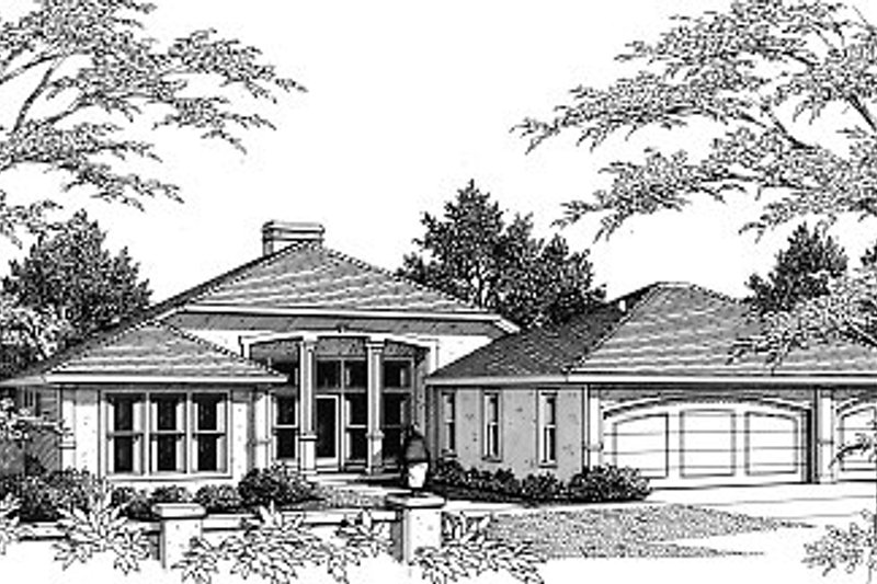 Mediterranean Style House Plan - 3 Beds 3 Baths 2289 Sq/Ft Plan #14-105 Exterior - Front Elevation