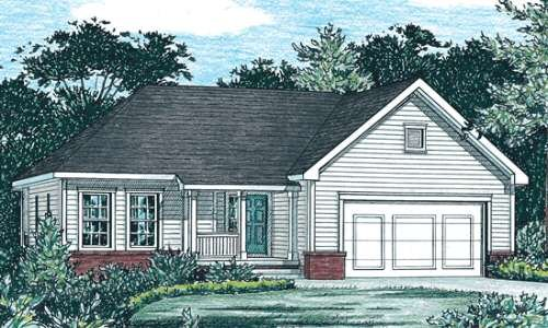 Traditional Style House Plan - 3 Beds 2 Baths 1333 Sq/Ft Plan #20-1323 Exterior - Front Elevation