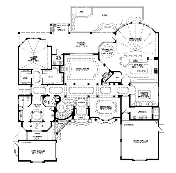 Mediterranean Floor Plan - Main Floor Plan Plan #548-3