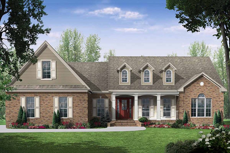 European Style House Plan - 3 Beds 2.5 Baths 2021 Sq/Ft Plan #21-242 Exterior - Front Elevation