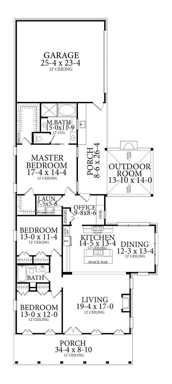 Dream House Plan - Ranch Floor Plan - Main Floor Plan #406-9655