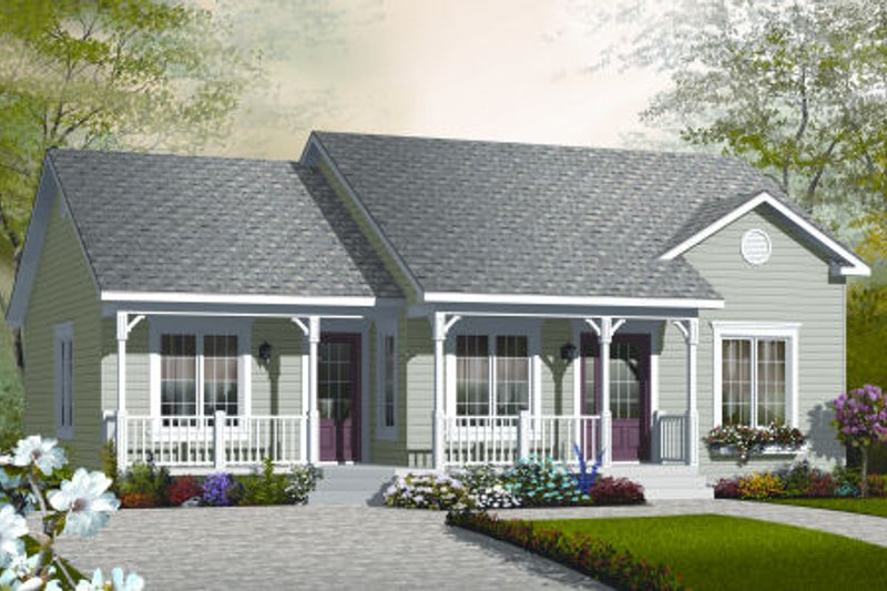 Ranch Style House Plan - 2 Beds 1 Baths 1185 Sq/Ft Plan #23-2204 Exterior - Front Elevation