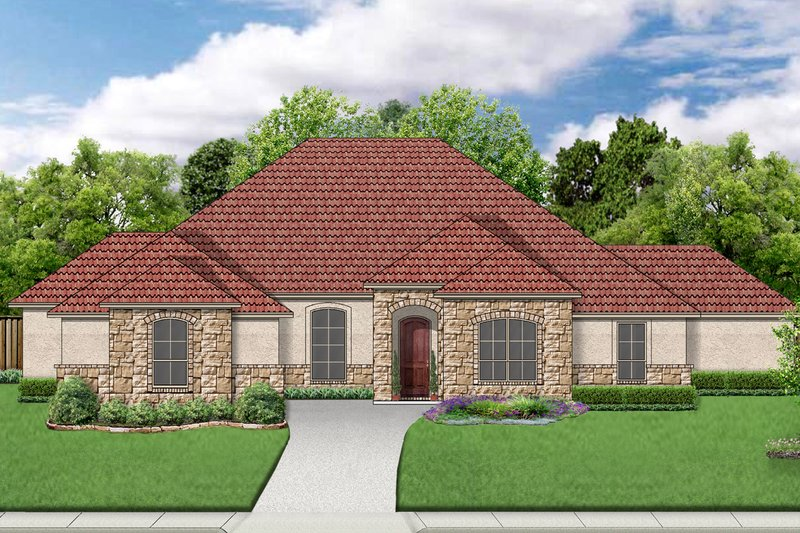 European Exterior - Front Elevation Plan #84-597