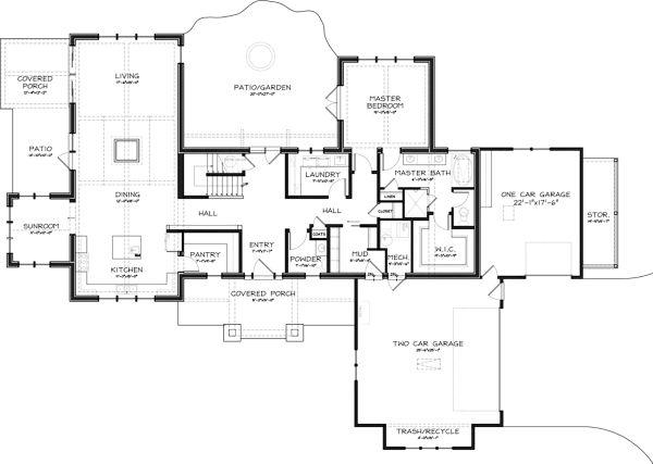 Craftsman Floor Plan - Main Floor Plan Plan #895-3