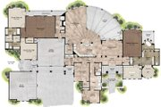 Mediterranean Style House Plan - 4 Beds 5 Baths 4320 Sq/Ft Plan #80-199 Floor Plan - Main Floor Plan