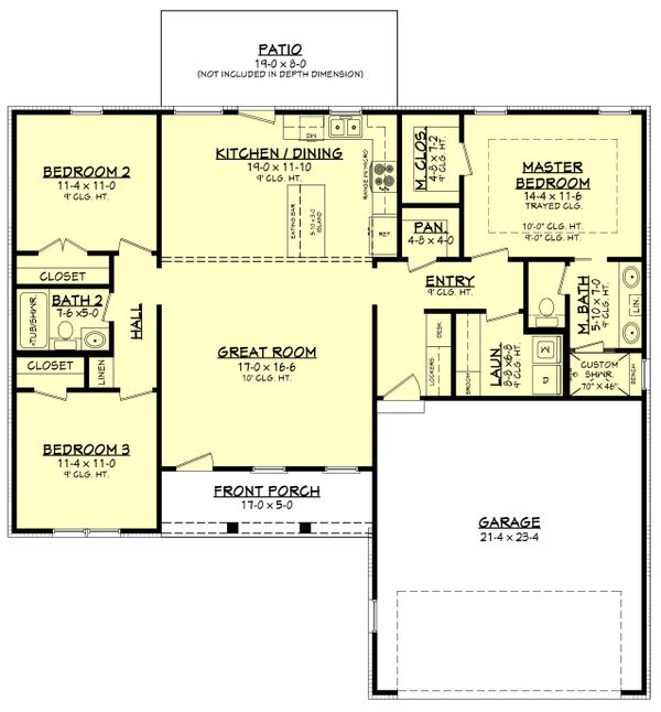 House Plan Design - Farmhouse Floor Plan - Main Floor Plan #430-209