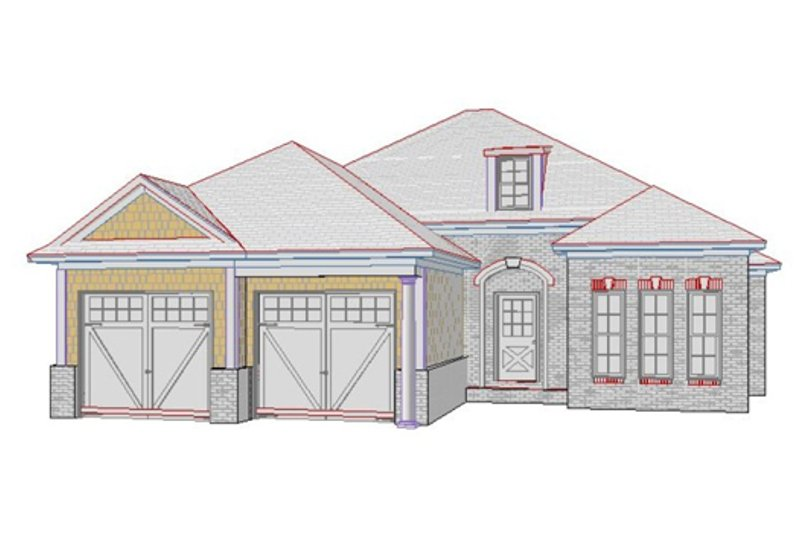 European Style House Plan - 4 Beds 3 Baths 2203 Sq/Ft Plan #63-245 Exterior - Front Elevation