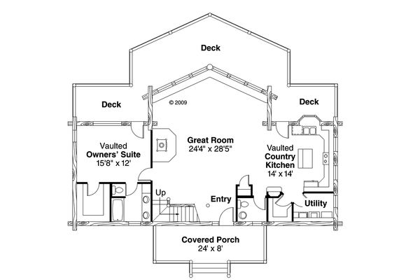 Contemporary Floor Plan - Main Floor Plan Plan #124-264