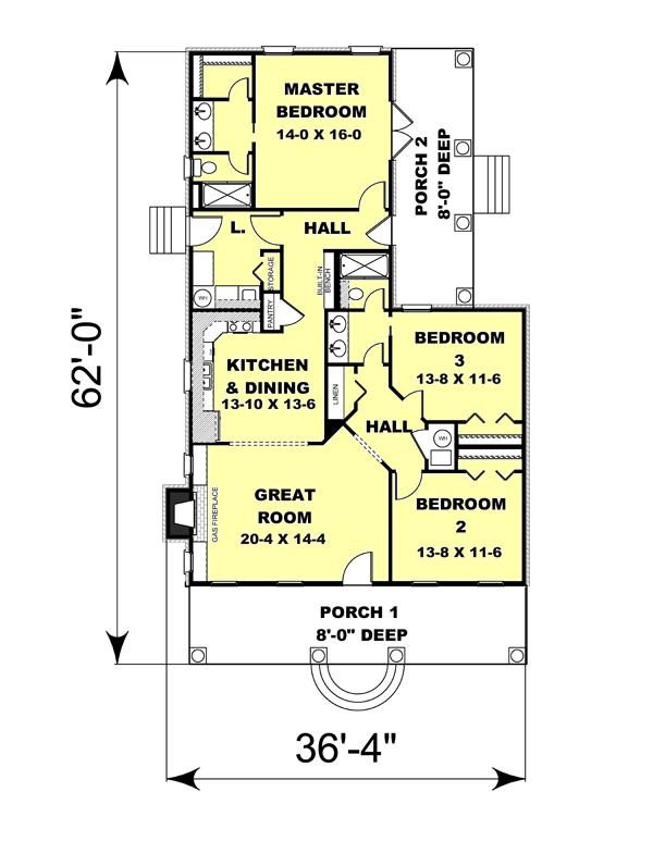 Traditional Floor Plan - Main Floor Plan Plan #44-185