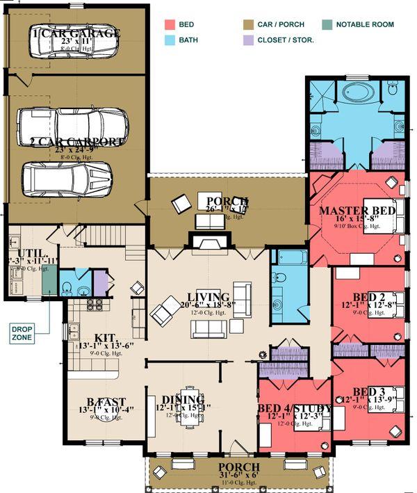 Traditional Floor Plan - Main Floor Plan Plan #63-345