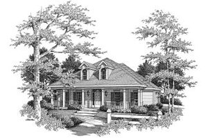 Southern Exterior - Front Elevation Plan #37-155