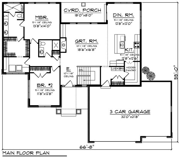 Ranch Floor Plan - Main Floor Plan Plan #70-1208