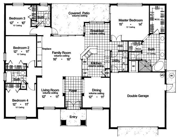 Mediterranean Floor Plan - Main Floor Plan Plan #417-213
