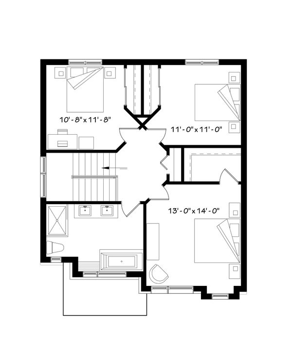 Contemporary Floor Plan - Upper Floor Plan #23-2307