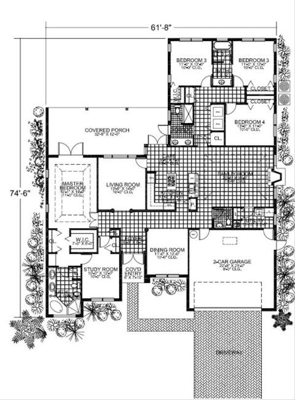 Mediterranean Floor Plan - Main Floor Plan Plan #420-210