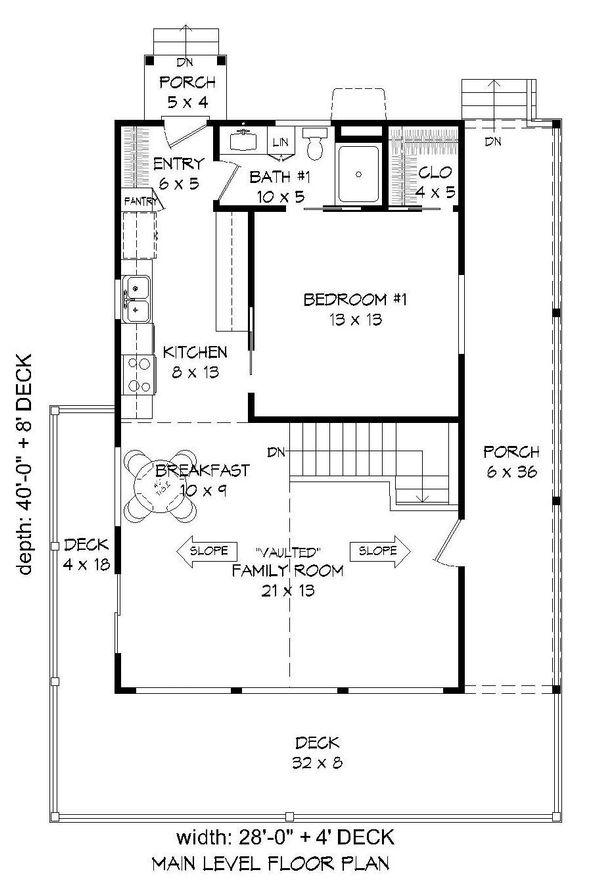 Cabin Floor Plan - Main Floor Plan Plan #932-107