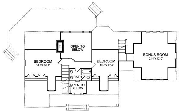 Craftsman Floor Plan - Upper Floor Plan Plan #417-276
