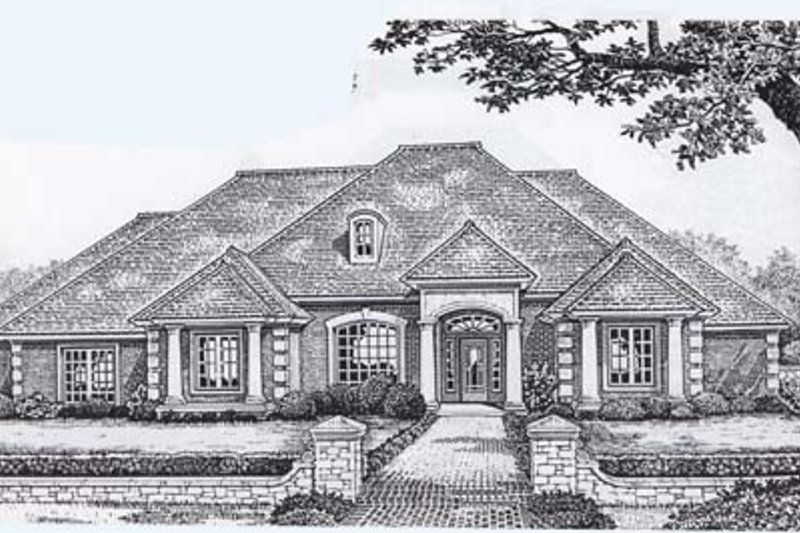 Traditional Style House Plan - 3 Beds 2.5 Baths 2606 Sq/Ft Plan #310-853 Exterior - Front Elevation