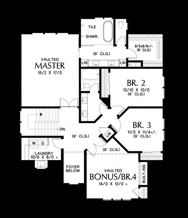 Contemporary Floor Plan - Upper Floor Plan #48-1035