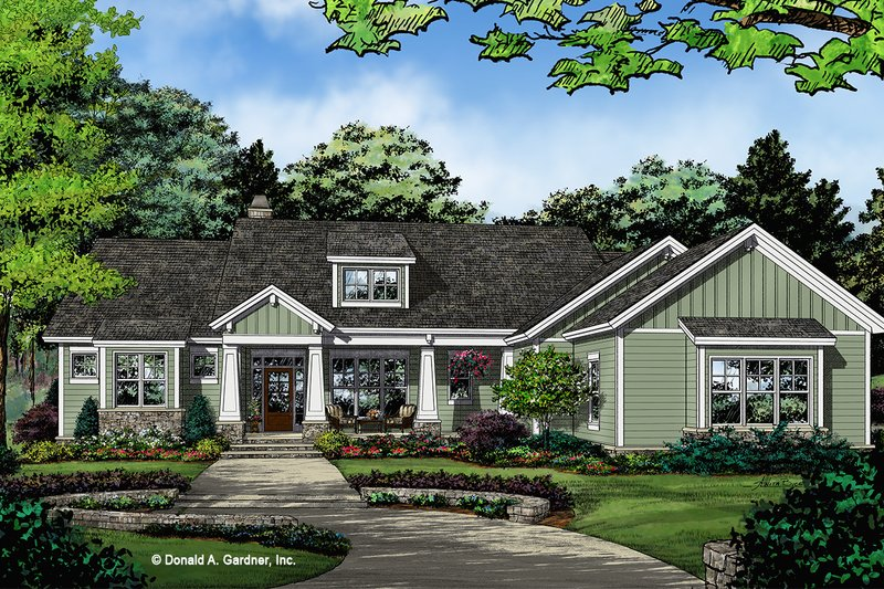 Architectural House Design - Craftsman Exterior - Front Elevation Plan #929-1036