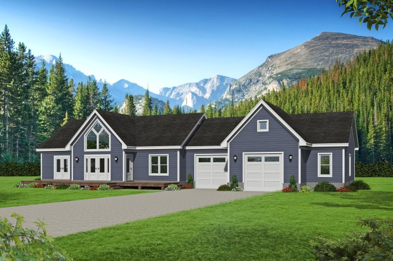 Country Style House Plan - 2 Beds 2 Baths 1365 Sq/Ft Plan #932-170 Exterior - Front Elevation