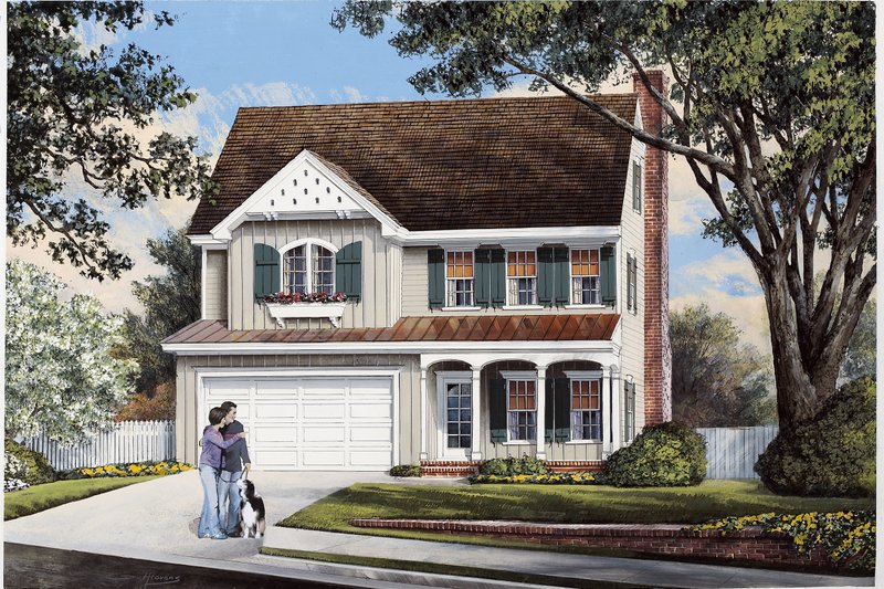 Cottage Style House Plan - 3 Beds 2.5 Baths 2068 Sq/Ft Plan #137-268 Exterior - Front Elevation