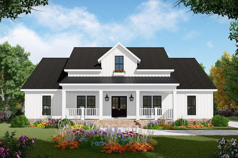Farmhouse Style House Plan - 3 Beds 2 Baths 1800 Sq/Ft Plan #21-451 Exterior - Front Elevation
