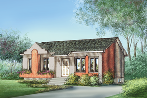 Cottage Exterior - Front Elevation Plan #25-4847
