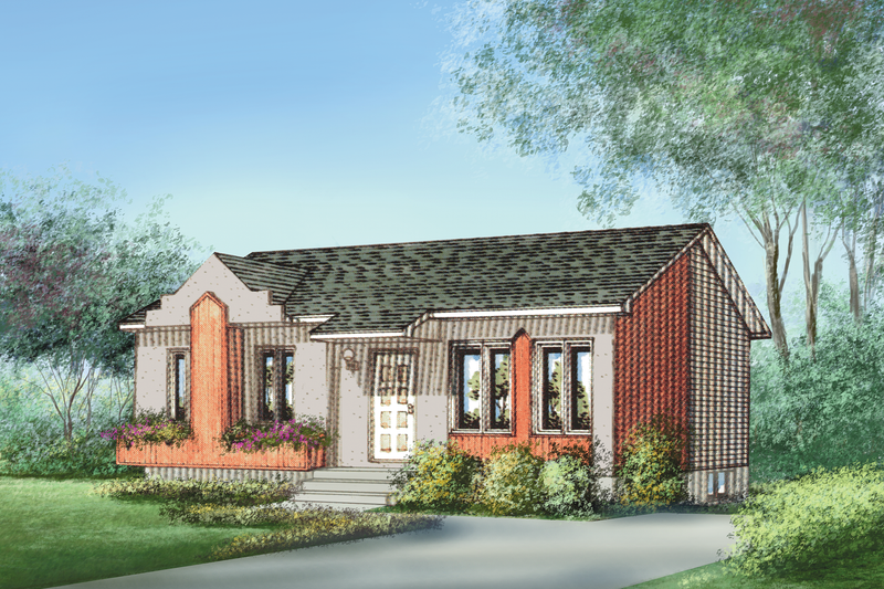 Cottage Style House Plan - 2 Beds 1 Baths 779 Sq/Ft Plan #25-4847 Exterior - Front Elevation