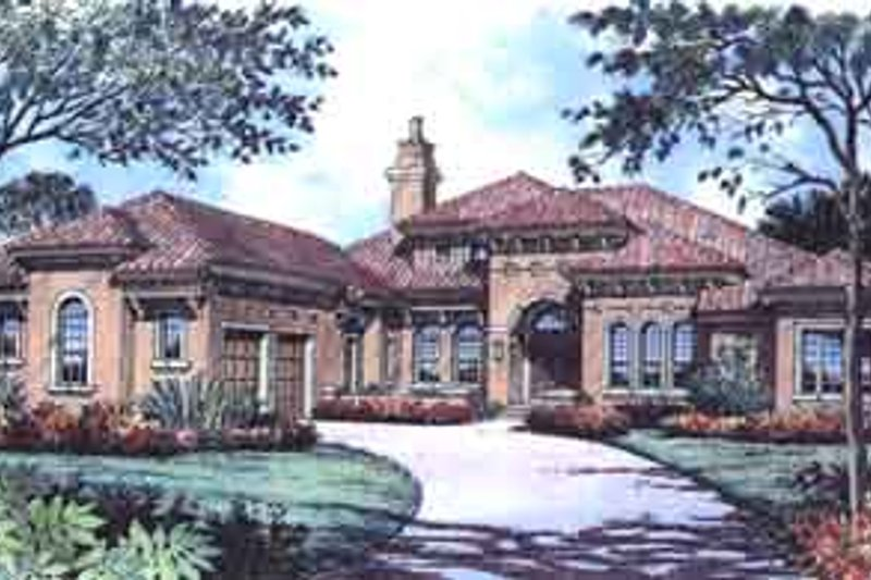 Mediterranean Style House Plan - 3 Beds 4.5 Baths 4364 Sq/Ft Plan #135-132 Exterior - Front Elevation
