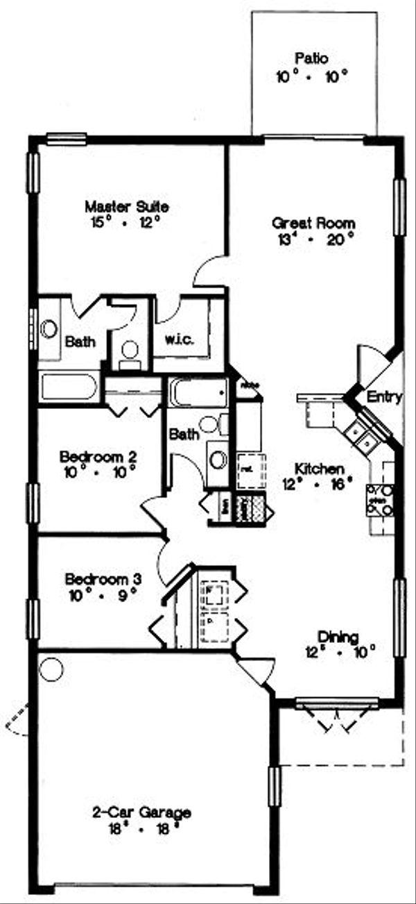 Mediterranean Floor Plan - Main Floor Plan Plan #417-111
