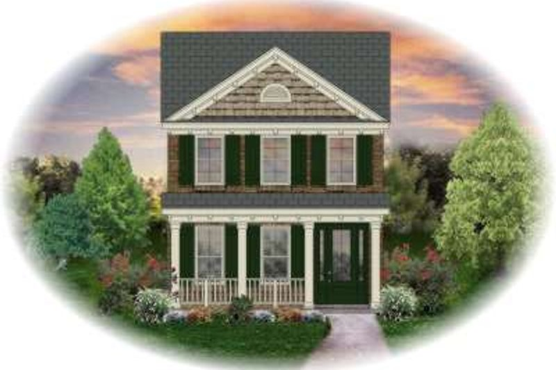Traditional Style House Plan - 2 Beds 2.5 Baths 1410 Sq/Ft Plan #81-1363 Exterior - Front Elevation