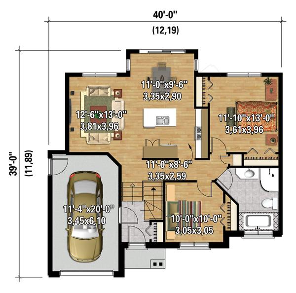 Contemporary Floor Plan - Main Floor Plan Plan #25-4369