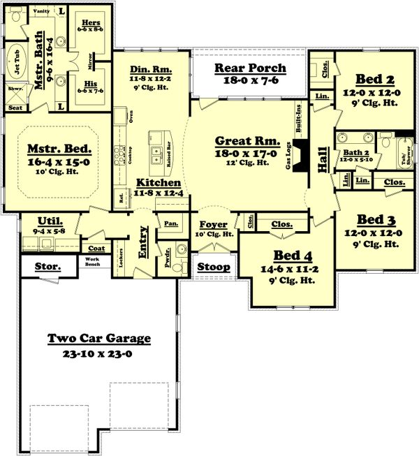 Traditional Floor Plan - Main Floor Plan Plan #430-75